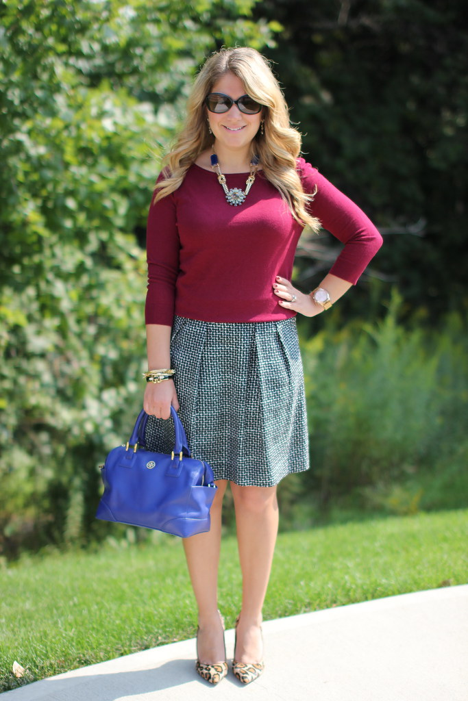 a-line tweed skirt burgundy sweater work outfit