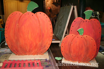 Fall Crafts For Kids: painted wooden pumpkins