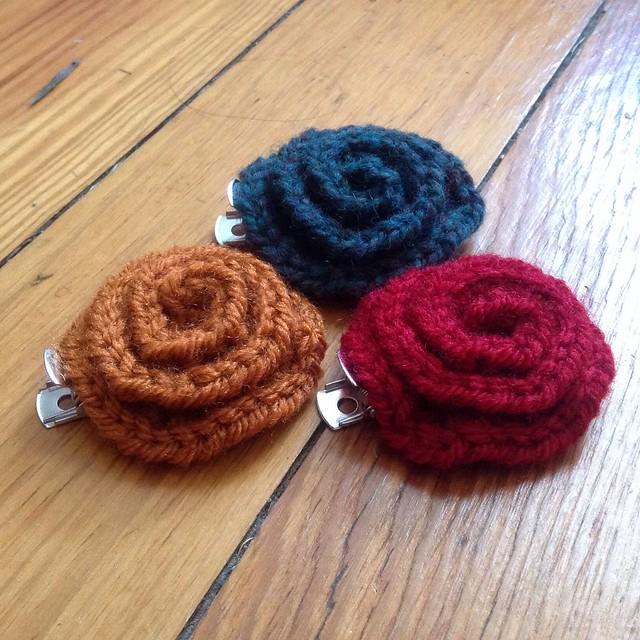 Rose crochet hair clips Flickr - Photo Sharing!