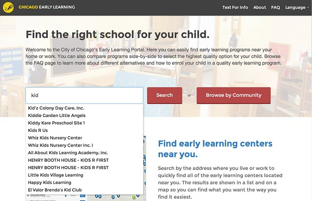 "Chicago Early Learning Search for ""kid"""