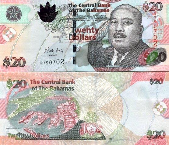 *20 Dolárov Bahamy 2010, Pick 74A
