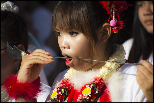 Girl with face piercing, Jui Tui shrine procession