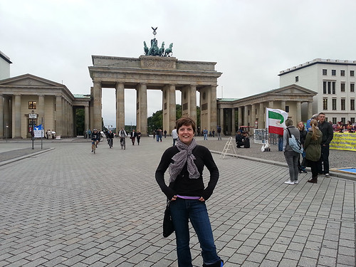 about to get run over by a pack of cylists at the Brandenburg Gate