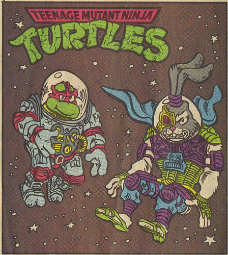 TEENAGE MUTANT NINJA TURTLES { newspaper strip } ..Raph, the Space Cadet + SPACE USAGI  ..art by Lawson - isolated :: 02231992
