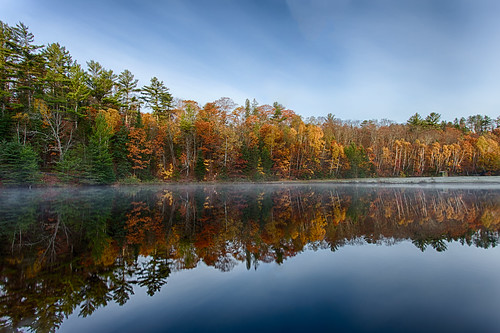 mist lake ontario canada reflection fall water reflections bluesky saultstemarie fallcolours hiawatha goulaisriver