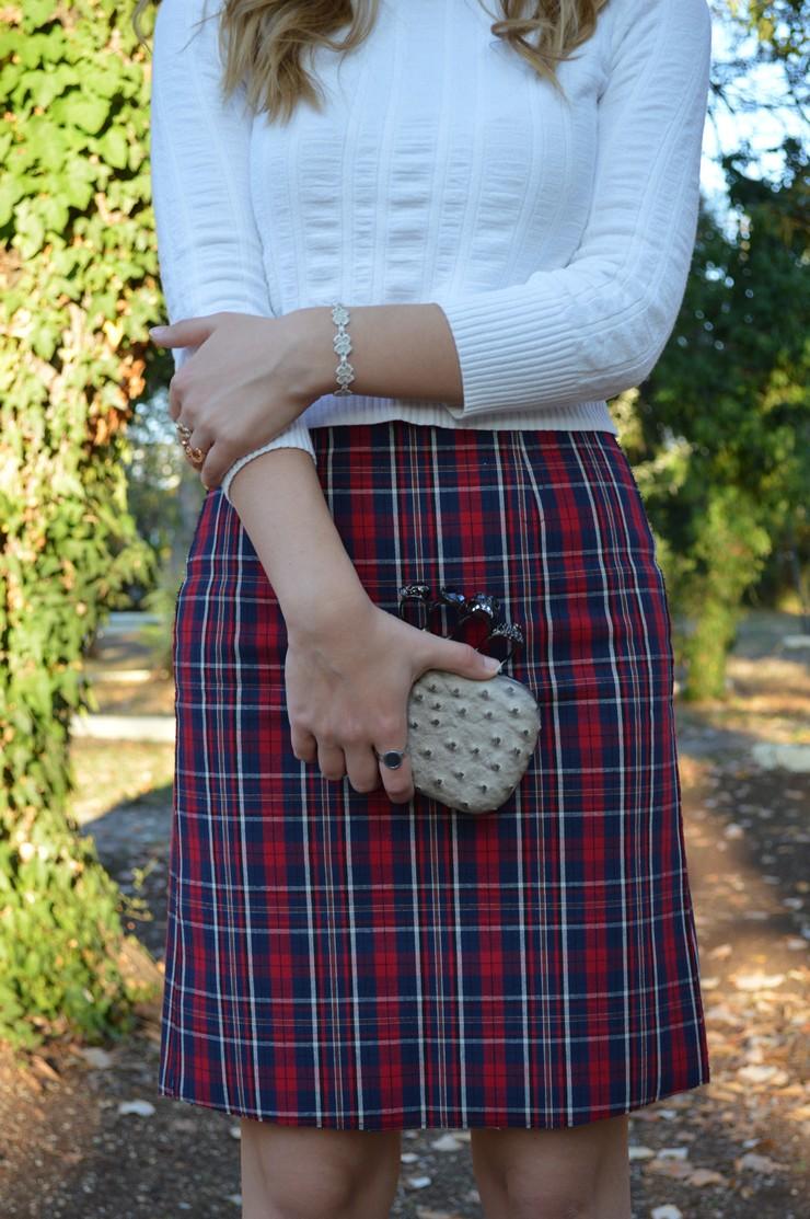 check skirt white top 9