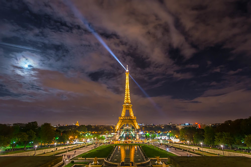 Paris - Eiffel Tower and moon