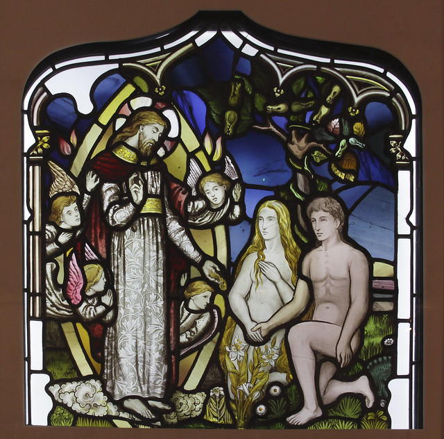 Adam and Eve before God, Designed by Christpher Whall, about 1880