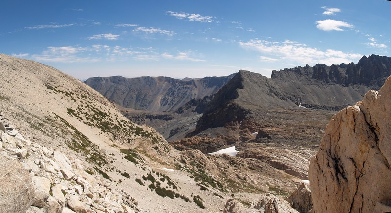 View of Horse Creek Pass from the south ridge of Matterhorn Peak
