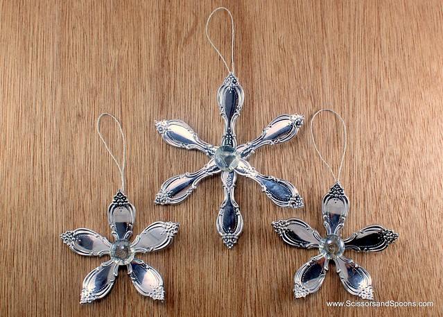 Snowflake Christmas Tree Ornaments from Plastic Utensils