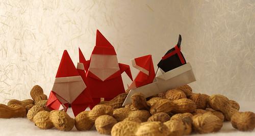 Origami Santa (Brian Webb) - Origami Santa Claus (John Montroll) - Origami Santa Claus and Sledge (Tomoko Tanaka)