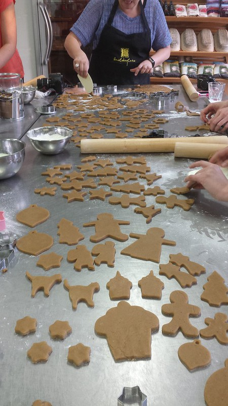 Cut gingerbread dough