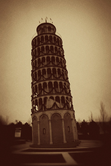 Leaning Tower of Niles - a roadside attraction in Niles, Illinois