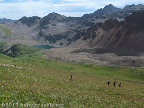 Hiking down from Electric Pass to Cathedral Lake, Colorado
