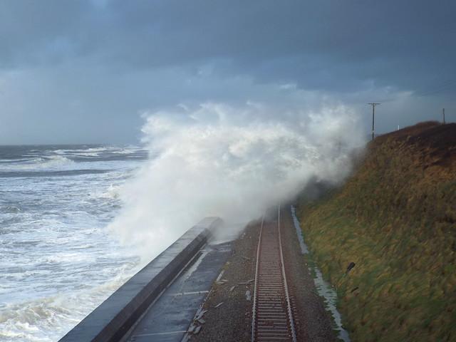 Storm surge closes rail track at Llanaber, Gwynedd.
