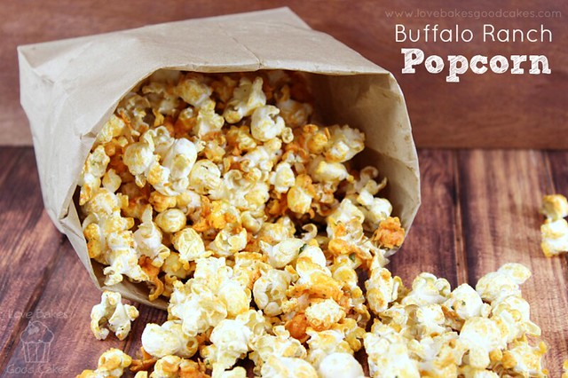 Buffalo Ranch Popcorn in a bag poured out on a table.