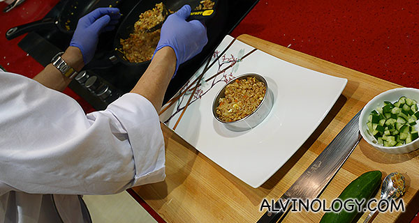 Plating the fried rice