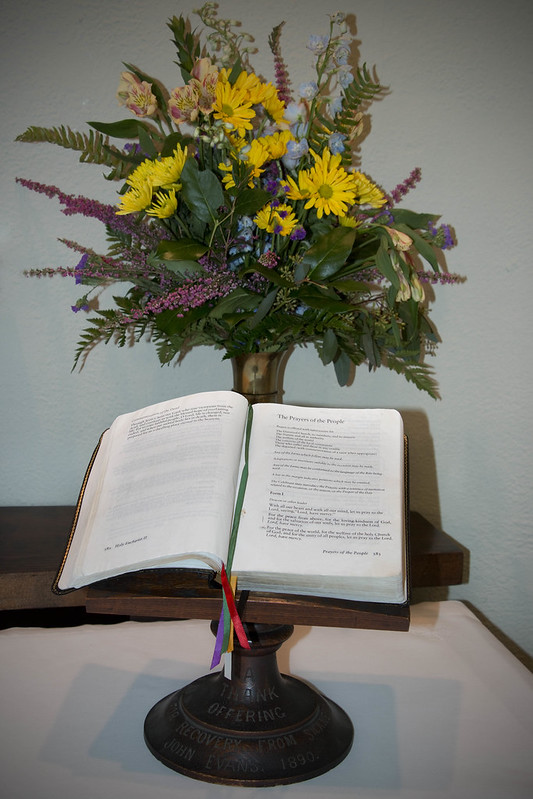 Flowers and prayer book