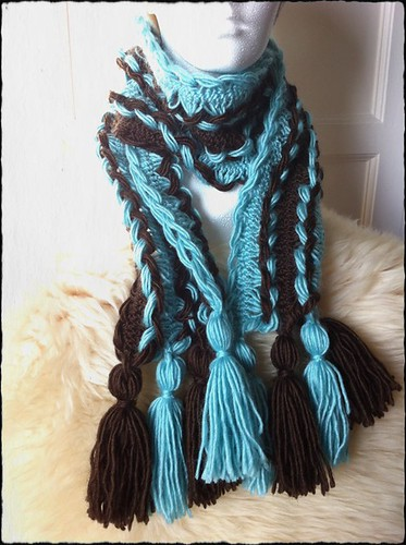 Hairpin Lace Crochet Scarf with Tassels in Robin Egg Blue and Espresso by Beatrixknits