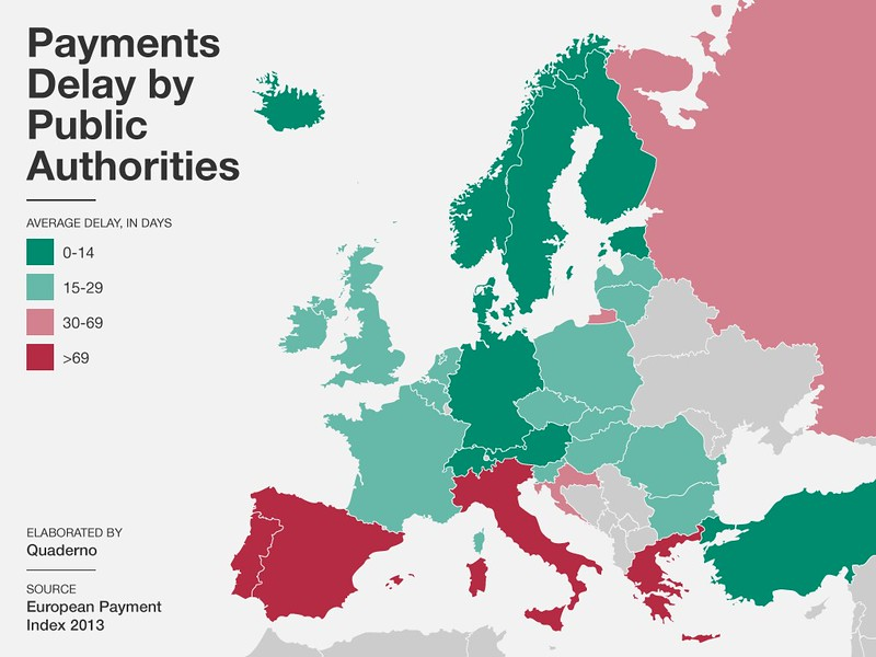 Retrasos en los pagos en la instituciones públicas en Europa en 2013