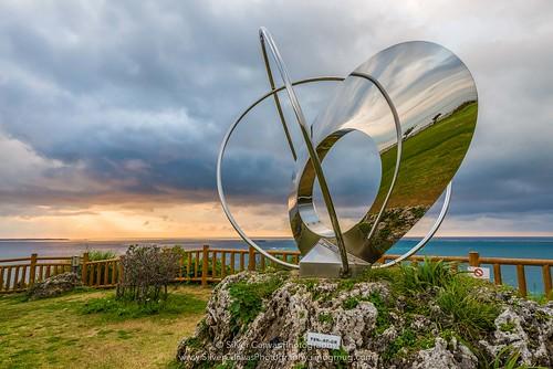 sculpture reflection japan sunrise coast 2014 okinawaprefecture chinen