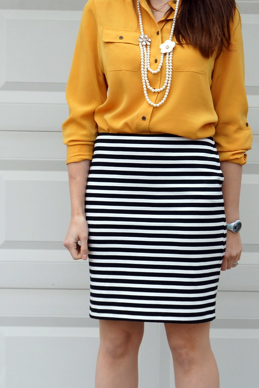 yellow blouse, black and white stripe Target skirt