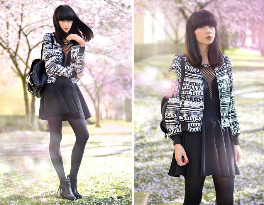 Tally Weijl outfit aztec blouson jacket black white skirt backpack 90s cool blogger CATS & DOGS berlin fashion blog 7
