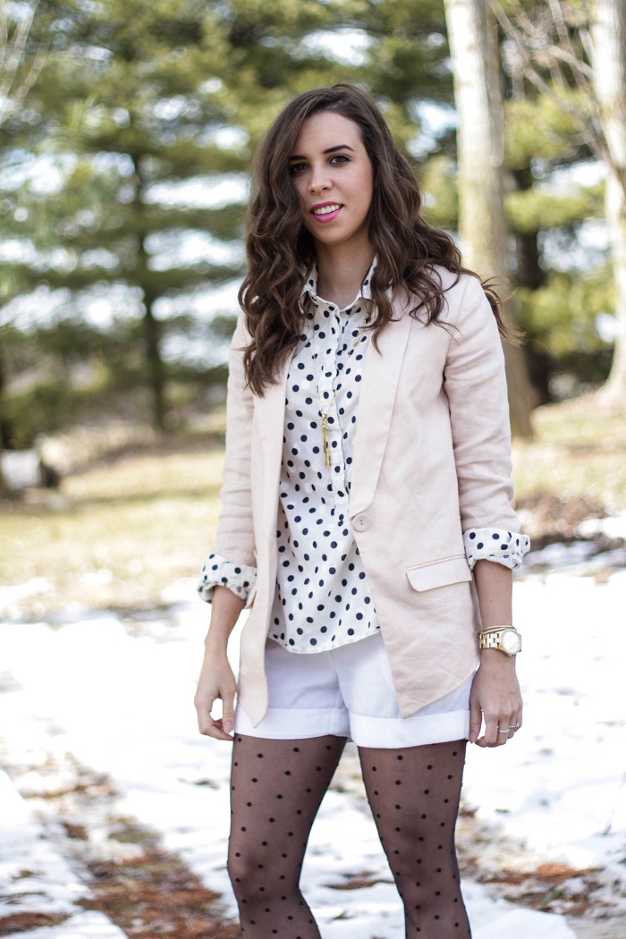 va darling. dc blogger. virginia personal style blogger. dc style.  polka dotted top. polka dotted tights. pink linen blazer. white shorts. black ankle booties. 7