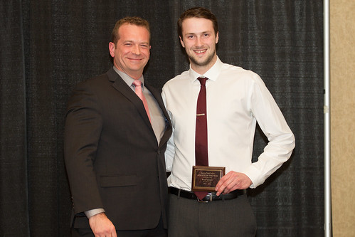 Matt Milovick (VP Admin) with Brad Gunter STF Male Athlete 2013-14 (Andrew Snucins photo)