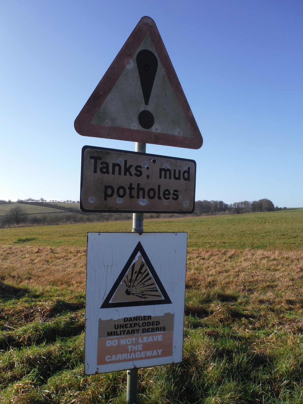 Imber Range, Traffic Sign SWC Walk 286 Westbury to Warminster (via Imber Range)