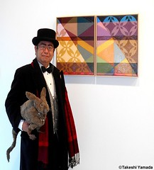 Dr. Takeshi Yamada and Seara (Coney Island sea rabbit) at the Chelsea art gallery district in Manhattan, New York on February 8, 2017.   20170208Wed. Chelsea, DSCN9802=p3035xC2