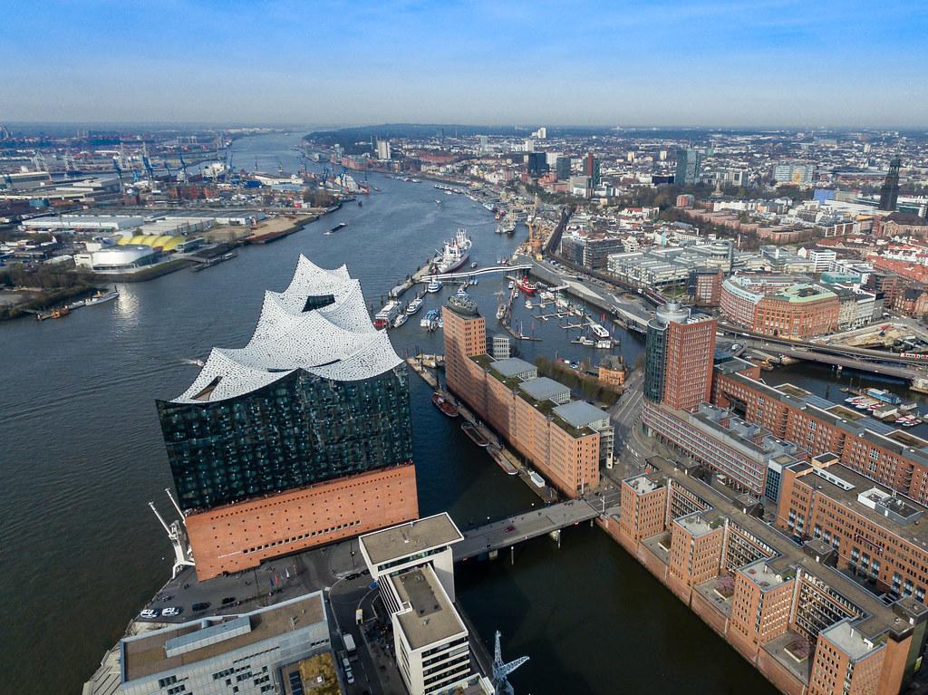 Aerial of Hamburg's Elbphilharmonie