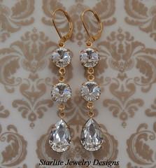 Crystal Bridal Earrings ~ Bridesmaids Earrings ~ Weddings Bridal Brides Bridesmaids Earrings Jewelry ~ Vintage Swarovski Crystal Earrings