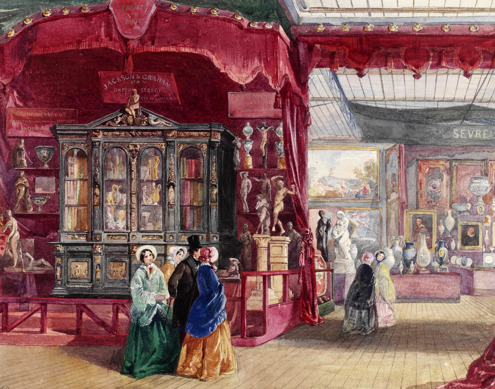 'Part of the French Court, No. 1 (Sèvres)', with a display of porcelain by the Sèvres factory visible in the background. © Victoria and Albert Museum, London
