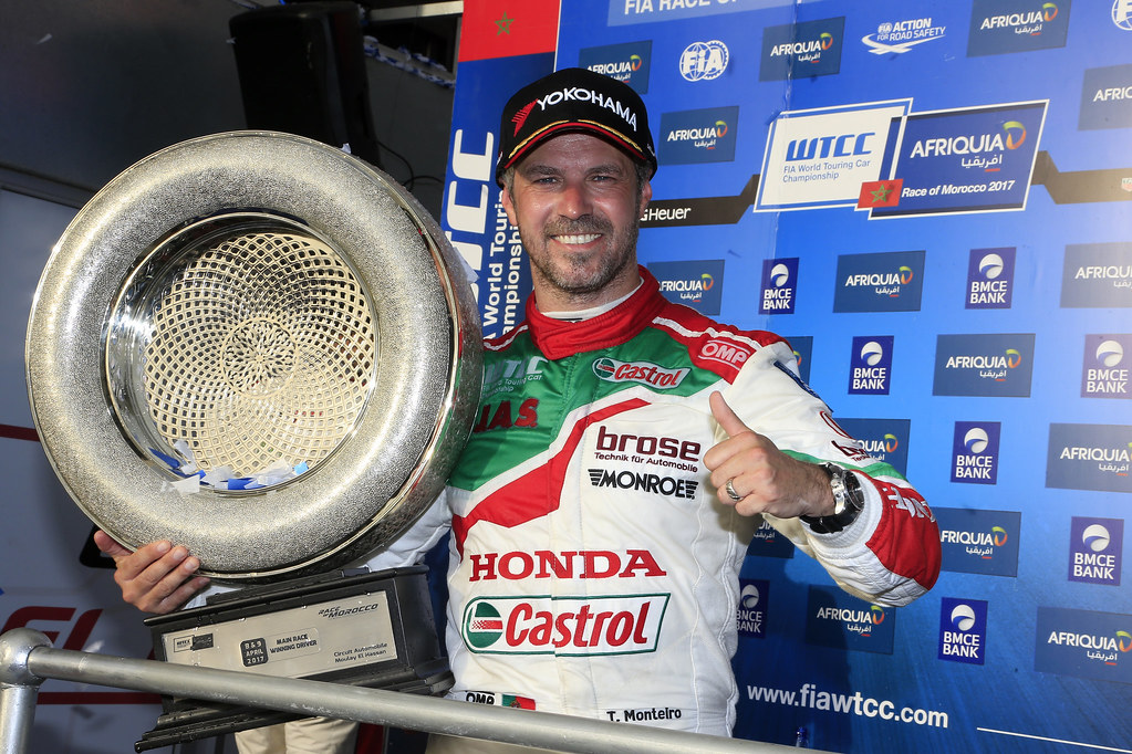 podium race 2  MONTEIRO Tiago (prt) Honda Civic team Castrol Honda WTC ambiance portrait during the 2017 FIA WTCC World Touring Car Race of Morocco at Marrakech, from April 7 to 9 - Photo Paulo Maria / DPPI