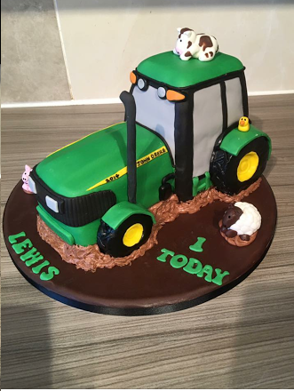 'It's spring' John Deere Tractor Cake designed by Rosie Bursell