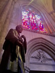 Abraham Lincoln statue and stained glass, National Cathedral, Washington, D.C.
