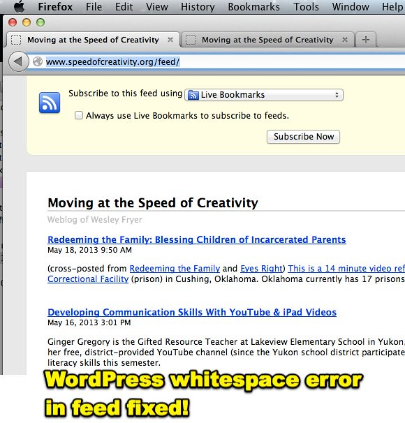 WordPress whitespace error in feed fixed!