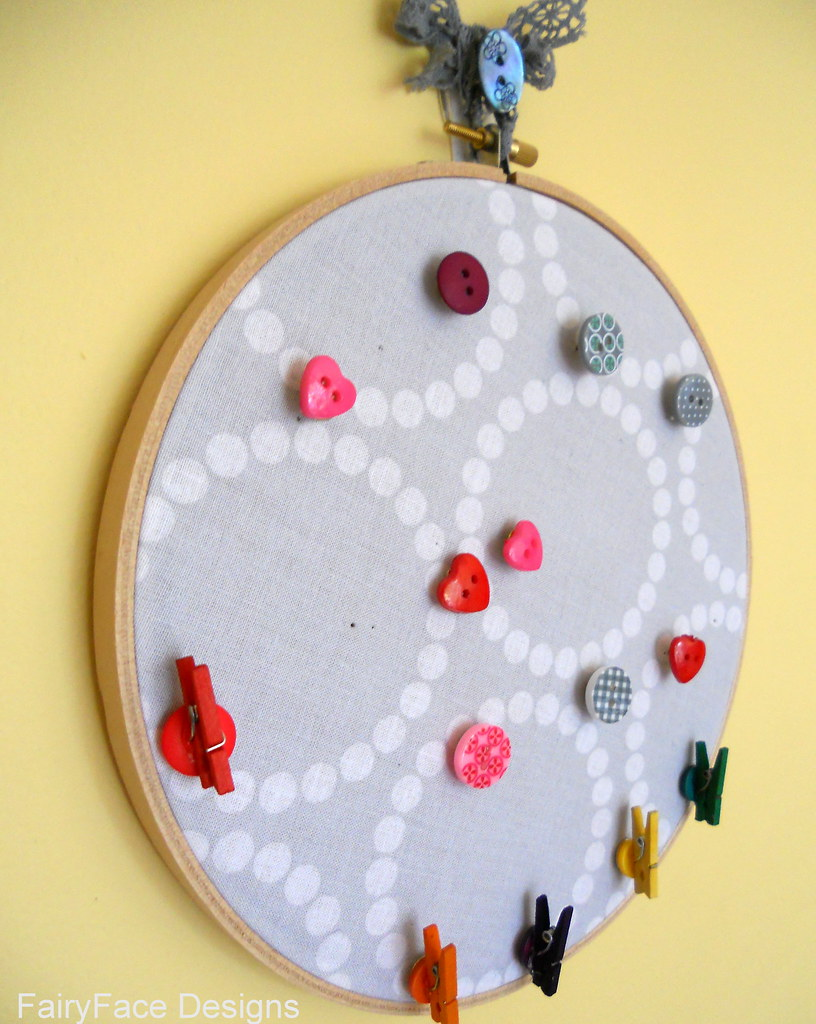 Embroidery hoop notice board