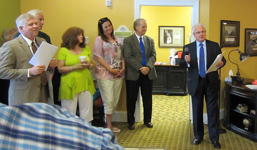 Kentucky Rural Development State Director Tom Fern (right) speaks at the opening of the Daisy Hill Assisted Living facility in Versailles.  USDA Rural Development guaranteed a loan for the facility, creating jobs and providing a quality facility for area seniors. USDA photo.