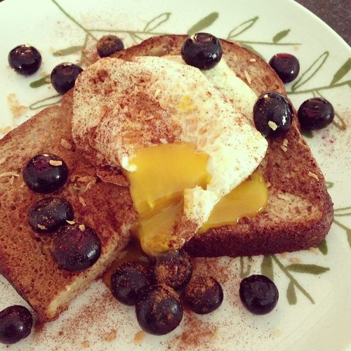 French toast with runny egg syrup