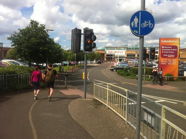 Shared use pavement Sainsbury Meadowbank