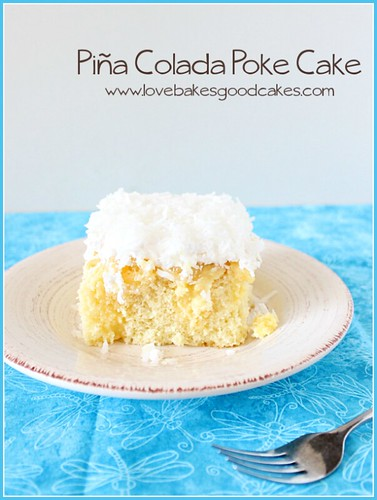 Piña Colada Poke Cake on plate with fork.