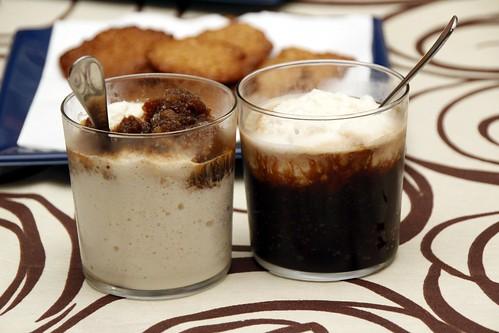 Leche preparada y granizado de café