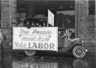 """Election posters on old Chevrolet truck: """"The people must rule: vote Labor"""", 8 September 1934, by Sam Hood"""