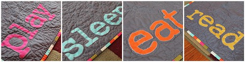 Quinn's Qute Quilt - words close-up