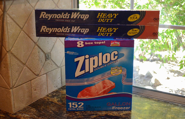 Packages of foil and ziploc bags.