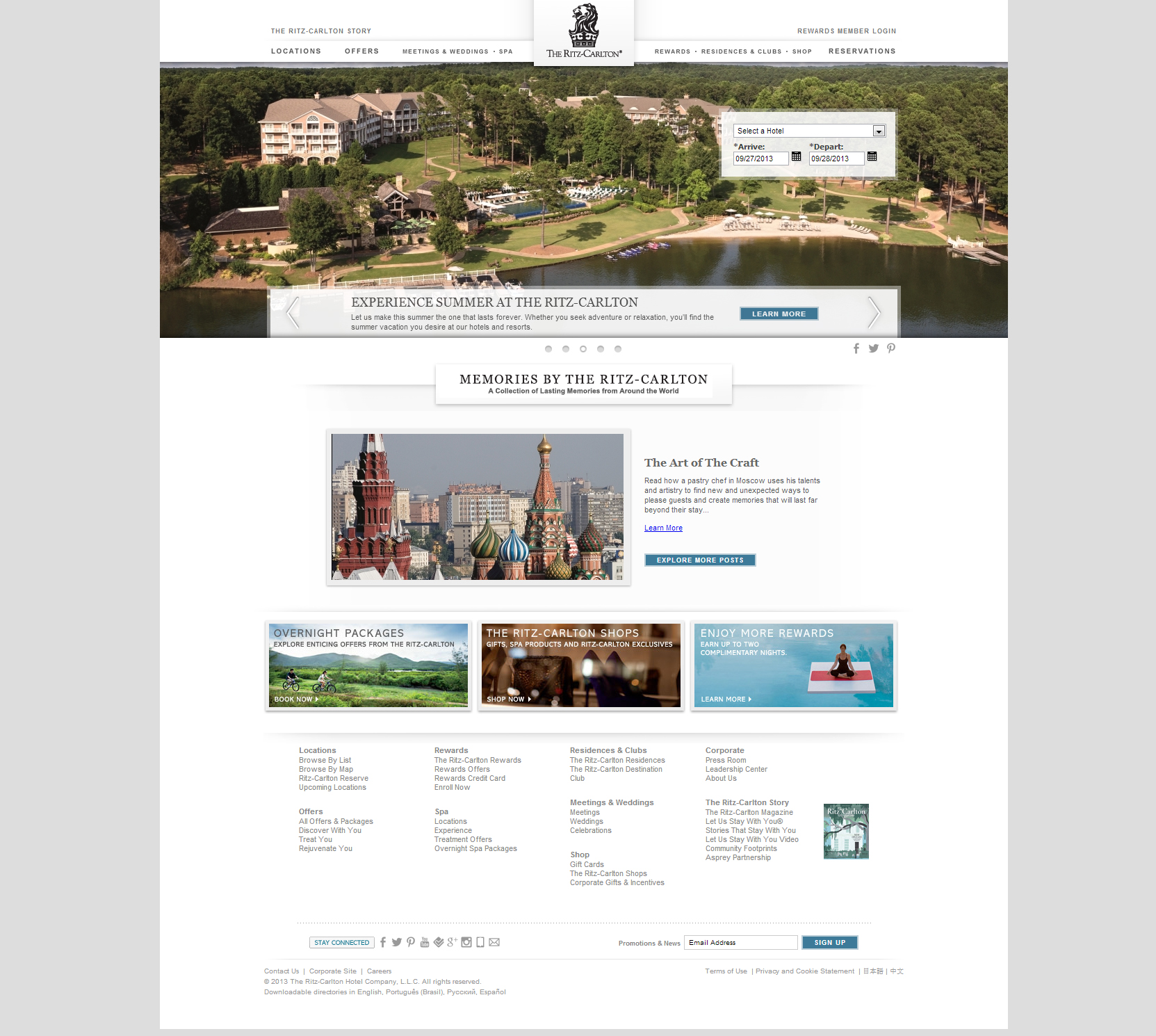 Website Inspiration - The Ritz Carlton Hotel