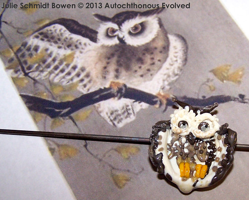 Art Bead Scene October 2013 Challenge - Owl Lampwork Focal Bead