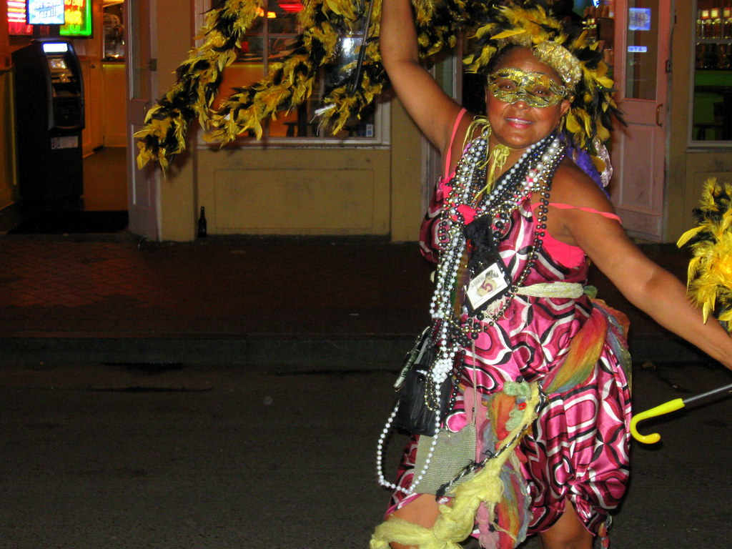 A one-woman Mardi Gras